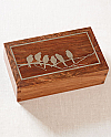 Hardwood Cremation Urn with Silver Inlay of Birds