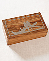 Hardwood Cremation Urn with Silver Inlaid Parrots