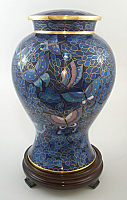 Blue Butterfly Cloisonne Cremation Urn