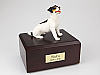 Jack Russell Terrier, Black-Brown Dog Figurine Cremation Urn