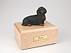 Dachshund, Long-haired Black Dog Figurine Cremation Urn