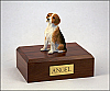Beagle White-Peru-Brown Sitting Dog Figurine Cremation Urn