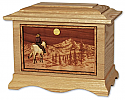 Horse and Rider in Mountains Wood Cremation Urn