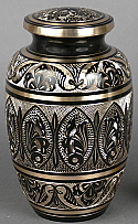 Moderne Etched Brass Cremation Urn