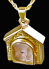 Gold Dog House Cremation Locket