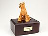 Airedale Terrier Yellow Sitting Dog Figurine Cremation Urn