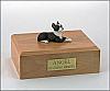Boston Terrier White-Black Laying Dog Figurine Cremation Urn