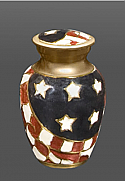 Stars and Stripes Brass Keepsake Cremation Urn