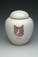 Sepia Photo Kitty Cremation Urn