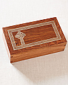 Hardwood Urn with Silver Inlay Celtic Cross