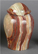 Small Rust and Green Onyx Cremation Urn
