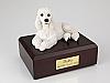 Poodle, White Dog Figurine Cremation Urn