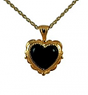 Gold heart with onyx stone jewelry urn