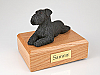 Schnauzer, Black - ears down Laying Dog Figurine Cremation Urn