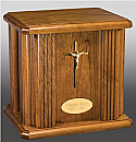 Risen Christ Oak Cremation Urn