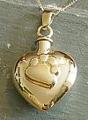 Gold Paw Print Heart Pet Urn Necklace
