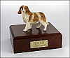 King Charles Spaniel White-Tan, Standing Dog Figurine Cremation Urn