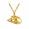 Gold Plated Cowboy Hat Keepsake Pendant Cremation Urn