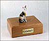 Cornish Rex, Tort-White Sitting Cat Figurine Cremation Urn