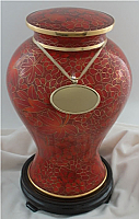 Etienne Autumn Leaves Cloisonne Cremation Urn