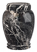 Medium Black Zebra Marble Cremation Urn