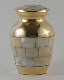 Gold Mother of Pearl Keepsake Urn