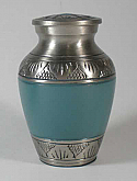 Etched Leaf teal Brass Urn Keepsake
