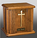 Modern Cross Oak Cremation Urn