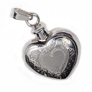 Etched Double Heart Pendant