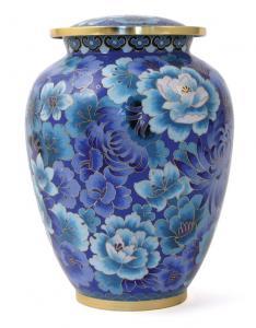 Traditional Blue Floral Cloisonne Cremation Urn
