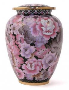 Traditional Floral Blush Cloisonne Cremation Urn