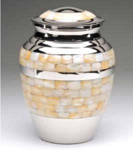 Brass Mother of Pearl Cremation Urn with Nickel Finish