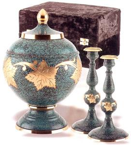 Patina Leaf Cremation Urn Set