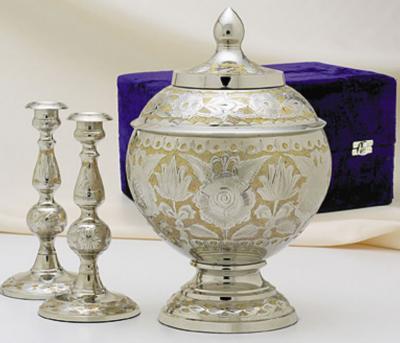Silver Gold Cremation Urn Set