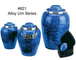 Cobalt Blue Metal Cremation Urn
