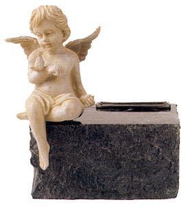 Black Marble with Angel Keepsake Urn