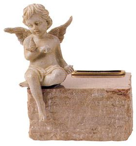 Cream Marble Cremation Urn with Angel