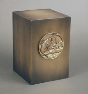 Bronze Cube with Hooked Fish Medallion