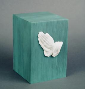 Cast Bronze Cremation Urn with Marble Praying Hands