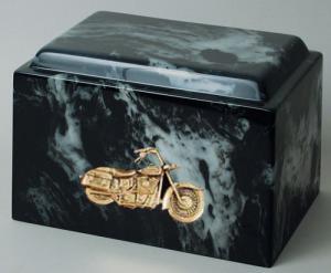Black Marble Motorcycle Cremation Urn