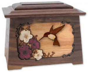Hummingbird Wooden Cremation Urn
