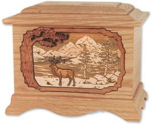 Elk Wooden Cremation Urn