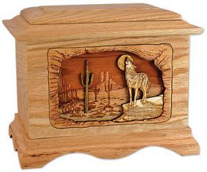 Desert Coyote Wooden Cremation Urn