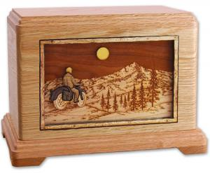 Wooden Motorcycle Cremation Urn - Mountains