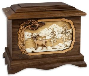 Deer and Mountains Wooden Cremation Urn