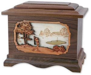Golfer Wood Cremation Urn