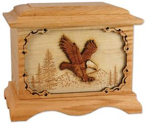 Wood Bald Eagle Cremation Urn