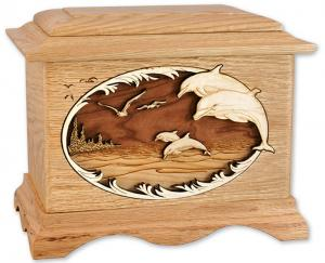 Dolphin and Sea Wooden Cremation Urn