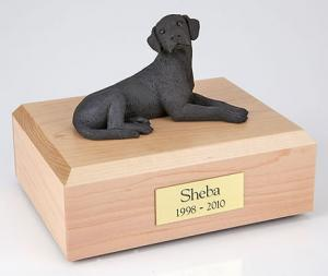 Black Lab Laying Figurine Cremation Urn