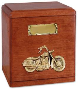 Wood Motorcycle Cremation Urn with Applique
